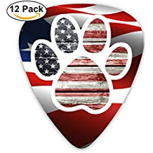 Cool Guitar Picks Dog Paw Print American Flag Celluloid Plectrums For Guitar Bass,12 Pack Includes Thin, Medium & Heavy Gauges