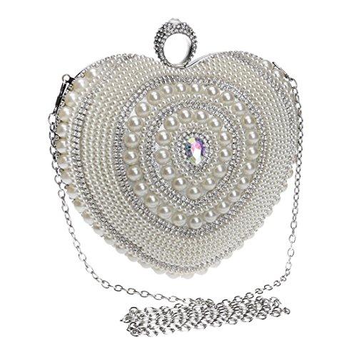 Bolso del monedero del embrague del banquete de la tarde del vestido de señora Pearl del vestido del corazón de las mujeres (Color : Silver) Silver