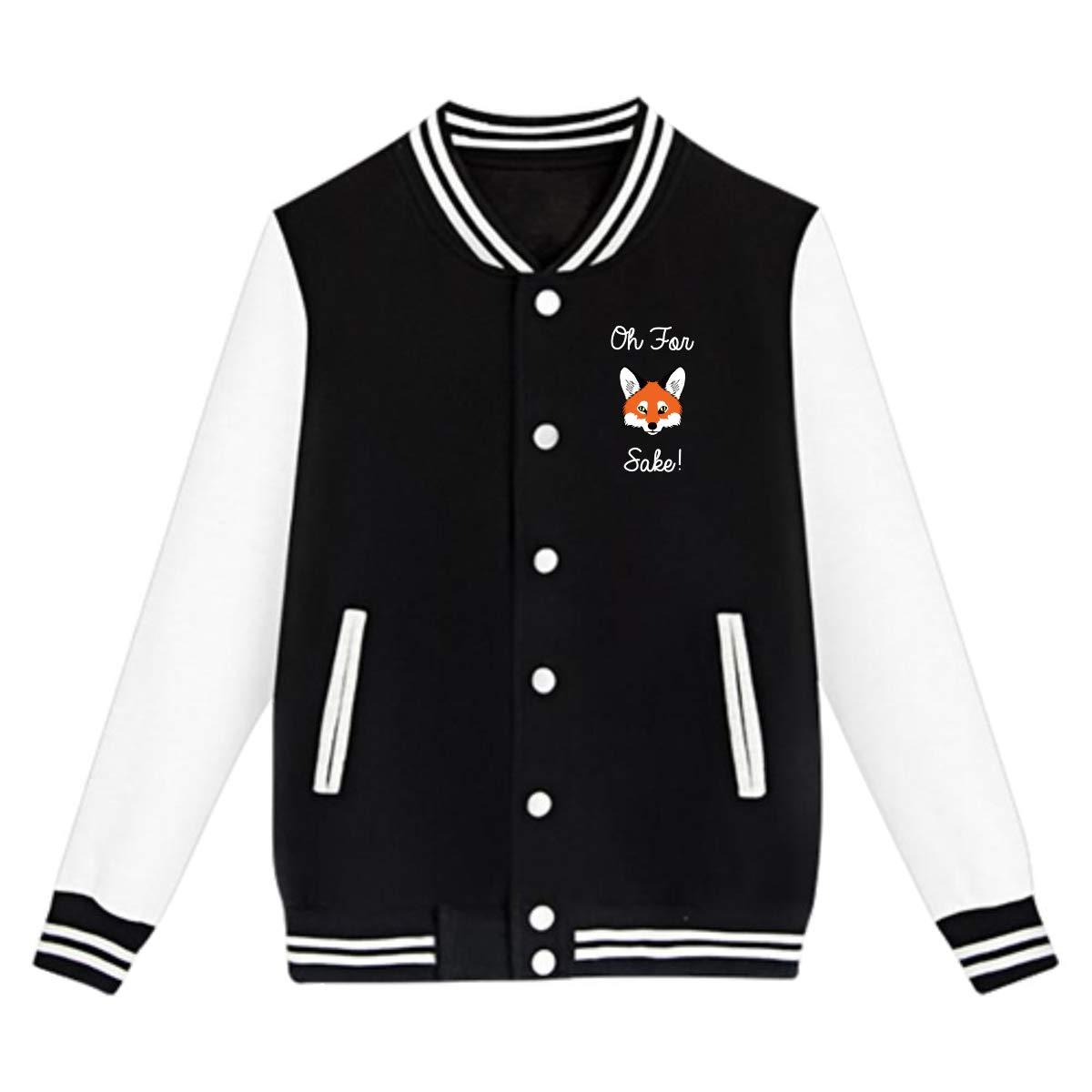 EengFang Unisex Youth Oh for Fox Sake Funny Fox Hound Funny Baseball Uniform Jacket Coat Sweater Black