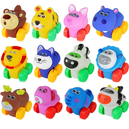 Big Mo's Toys Animal Cars - Soft Rubber Cartoon Animal Push Toy Vehicles for Babies and Toddlers - Pack of 12