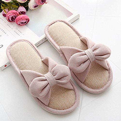 CHIC*MALL Bowknot Linen Slippers Comfortable House Slippers Pink RXR1Lroo