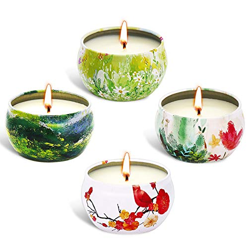 XYUT Scented Candles Lavender, Rose, Tea Tree and Peppermint,Natural Soy Wax Portable Travel Tin Candle,Set Gift of 4 ()