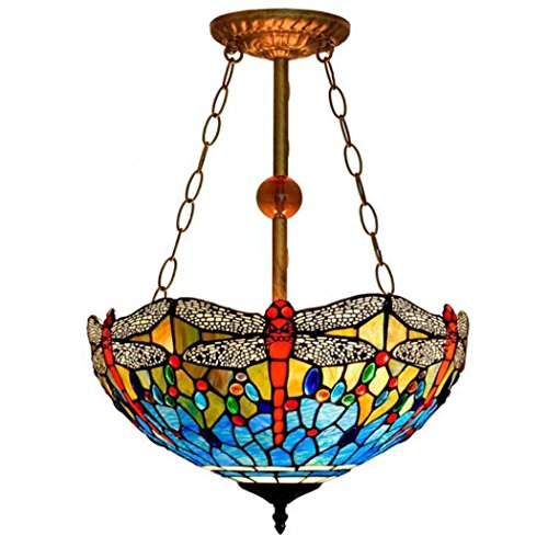 Art Glass Stained Glass Chandelier - Tiffany Style Pendant Lamp, 16-inch Stained Glass Art Anti-chandelier, European Creative Living Room Dining Room Bedroom Design Pendant Light E27 Without Light Source