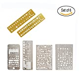 Stainless Steel Drawing Ruler Pack of 6 Painting Stencils Scale Template Sets for Journaling, Scrapbooking, Card and Craft Project(Brass Alphabet and Number Graffiti Web UI IOS Life element)