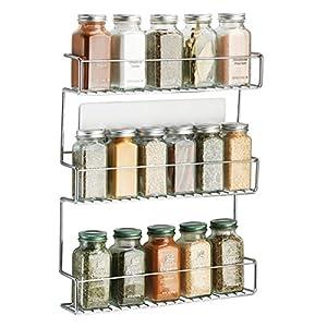 mDesign Especiero de cocina autoadhesivo AFFIXX – Estanterías metálicas para especias con tres estantes – Práctico… 51wXk0jGTSL