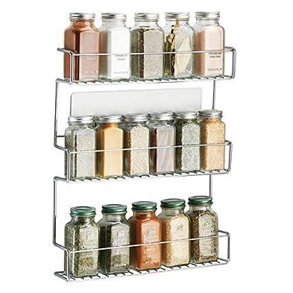 mDesign Especiero de cocina autoadhesivo AFFIXX – Estanterías metálicas para especias con tres estantes – Práctico