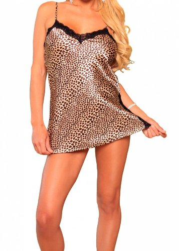 Lovely Day Lingerie SB LDL-CD1004, Lacey Leopard Chemise-2 L Animal Print by Satin Boutique