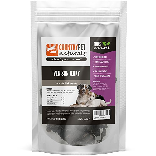 Venison Jerky Treats for Dogs by CountryPet Naturals (6 Ounces) - Air Dried, Healthy Snack and Training Reward - 100% Natural, Grain Free, Gluten Free, Single Ingredient - Made in New Zealand