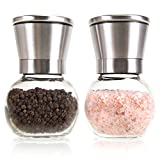 Ergonomic Stainless Steel Salt and Pepper Grinder Set - The Original Premium Glass Round Pepper Mill & Salt Mill, Adjustable Ceramic Rotor, By Simple Kitchen Products.