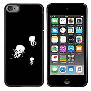 Qstar Arte & diseño plástico duro Fundas Cover Cubre Hard Case Cover para Apple iPod Touch 6 6th Touch6 (Jelly Fish B & W)