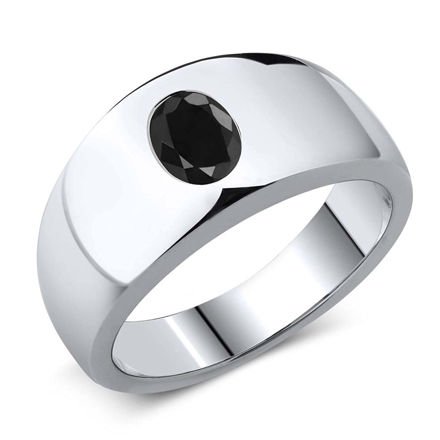 1.66 Ct Oval Black SI1/SI2 Sapphire 925 Sterling Silver Men's Ring