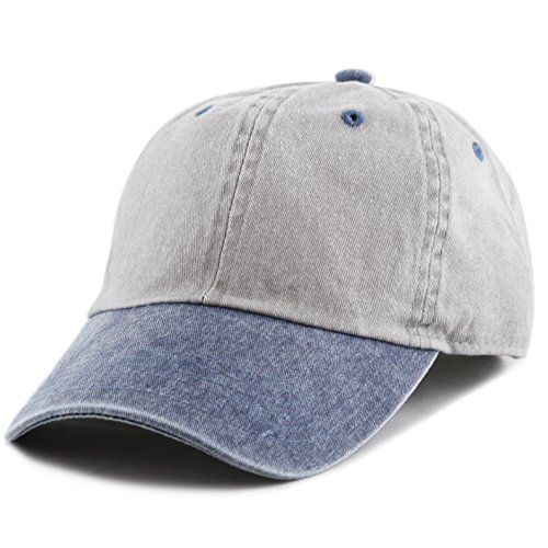 The Hat Depot Cotton Pigment Dyed Two Tone Low Profile Six Panel Plain Cap (Grey Navy)