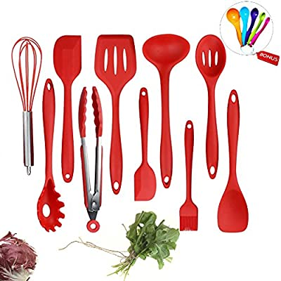 Silicone Utensils Set 10 Piece Kitchen Chef Cooking Utensils Non-Stick Serving Tool with Solid Core from Evantek