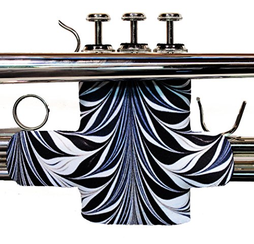 Trumpet valve protector guard with hook and loop closure in colors and patterns - Trumpet Valve Guard Legacystraps Deco Swirl Design