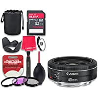 Canon EF 40mm f/2.8 STM Lens with 32GB Ultra Pro Speed Class 10 SDHC Memory Card + 3pc Filter Kit (UV-FLD-CPL) + Deluxe Sleeve + Celltime Microfiber Cleaning Cloth - International Version