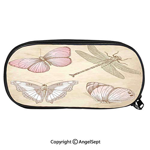 (Kid School Pencil BagButterflies Bugs Old Collector Image on Abstract Retro Backdrop Art Cute Printing Pen Case Adult Office Accessories Pencil HoldersLight Pink and Light Grey)