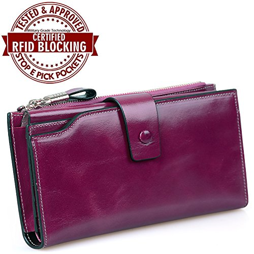 Jack&Chris RFID Blocking Leather Checkbook Wallets for Women Large Capacity, WB301 (Purple)