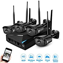 JOOAN TC-734NVR 4CH NVR 960P HD Wireless Security IP Camera System Surveillance Network Camera System Night Vision - No HDD