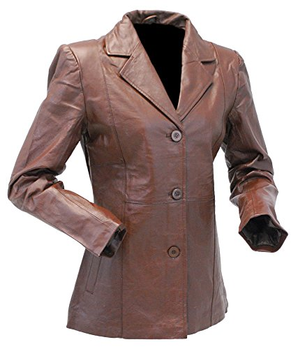 3 Button Womens Leather Jackets - 8