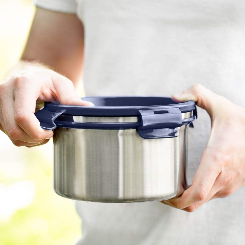 LunchBots Salad Bowl Lunch Container - 6 Cup - Leak Proof Lid - Stainless Steel Inside - Not Insulated - BPA Free, Dishwasher Safe - Navy - 6 cup by LunchBots (Image #6)
