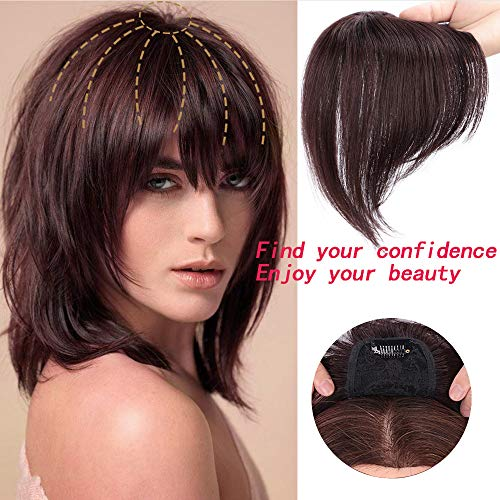 MOXINALAKO Human Hair Topper Clip in Crown Hairpieces Short Straight Wiglet For Women With Thinning Hair/Gray Hair Toupee Silk Base Dark Brown