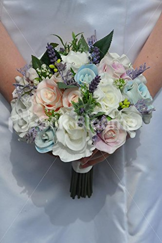 Beautiful Artificial Pastel Blue, Pink and Ivory Fresh Touch Rose Bridal Bouquet with Purple Heather
