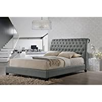 Baxton Studio Jazmin Tufted Modern Bed with Upholstered Headboard, King, Gray