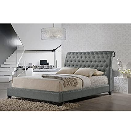 bc2435d0c689 Amazon.com: Baxton Studio Jazmin Tufted Modern Bed with Upholstered  Headboard, King, Gray: Kitchen & Dining