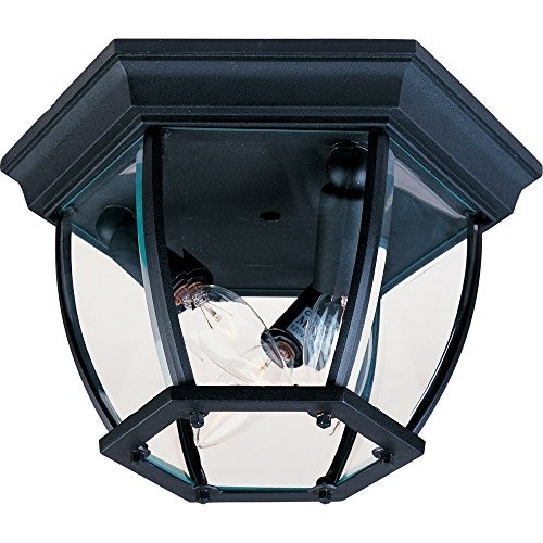 - Maxim 1029BK Maxim 3-Light Outdoor Ceiling Mount, Black Finish, Clear Glass, CA Incandescent Incandescent Bulb , 60W Max., Dry Safety Rating, Standard Dimmable, Fabric Shade Material, 6048 Rated Lumens