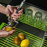 Roll-up Dish Rack for Sink – Dish Drying Rack – Over the Sink Dish Drainer – Silicone Covered Stainless-Steel Draining Board – Highly Resistant and Practical – Non-slip Materials – Green