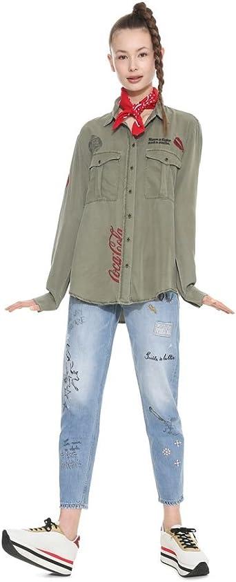 Desigual - Camisas - para Mujer Caqui L: Amazon.es: Ropa y accesorios