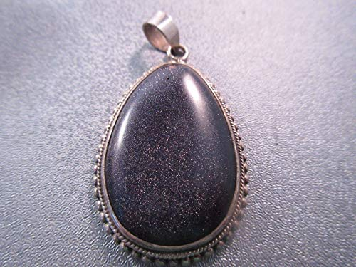 Vintage Sterling Silver Blue Goldstone Pendant 1pc #ID-385