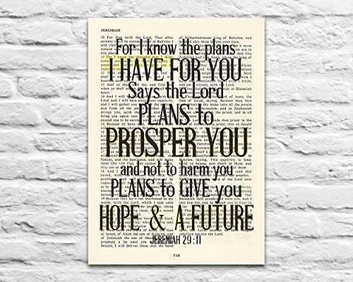 For I know the plans I have for you – Jeremiah 29:11 Christian UNFRAMED reproduction Art PRINT, Vintage Bible verse scripture wall & home decor poster, Inspirational gift, 5×7 inches