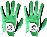 FINGER TEN Men's Golf Glove Rain Grip Pair Both Hand or 2 Pack Left Right Hand, Hot Wet Weather No Sweat, Black Gray Green, Fit Size Small Medium Large XL