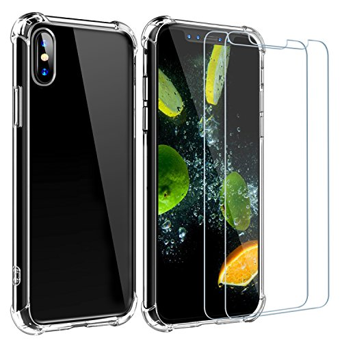 (iphone X Case with 2 Screen Protectors Clear,ZXK CO Soft Back Shockproof TPU Air Cushion Bumper Case+2 PCS Built-in Temper Glass Screen Protectors Full Body Protection Accessories for iPhone X/10,5.8