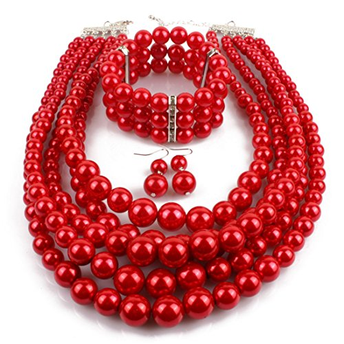 Lanue Women's Simulated Faux Pearl Multi-Strand Statement Necklace Bracelet and Earrings Set (Red)
