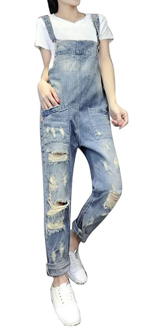 LD Womens Adjustable Strap Ripped Denim Overalls Rompers Long Jeans Pants