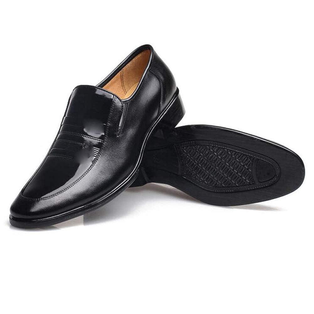 NBWE Glatt Derby Schuhe Herren Lederschuhe Slip on Gummisohlen weich schwarz und bequem Bankett Schuhe schwarz weich 919a50