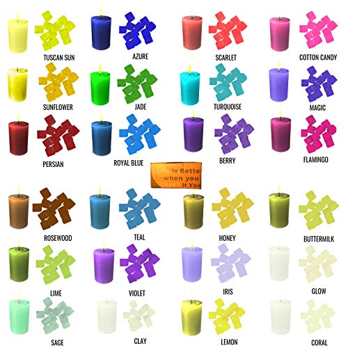 Clean Burning ToxinFree 24 Color Wax Dye - DIY Candle Dye - Cubes for Candle Making Supplies Kit - Soy Dye for Candle Molds - for Soy Candle Wax Kit - Hemp Candle Wicks - Making Scented Candles