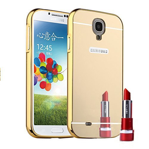 Samsung Galaxy S4 Case, AMASELL Luxury Mirror Acrylic PC Back Cover Case Aluminum Metal Bumper Frame for Samsung Galaxy S4, Samsung I9500, Samsung Galaxy S4 LTE-A , Gold - Mirror