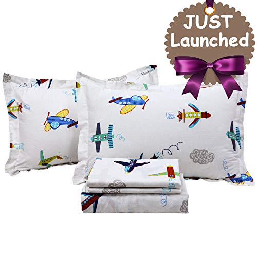 Brandream Kids Boys Bedding Sets Full Size Airplanes Printed Sheets Set Deep Pockets 18 Inch Children Flat Sheet Fitted Sheet Pillowcase Bedding - Bedding Airplane Kids