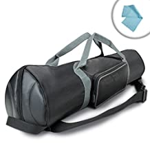 USA Gear 35 Inch Padded Tripod Carrying Case Bag with Strap , Top Expanding Extension & Accessory Storage - Works with Ravelli , Manfrotto , Benro & More 35-Inch Folded Tripods