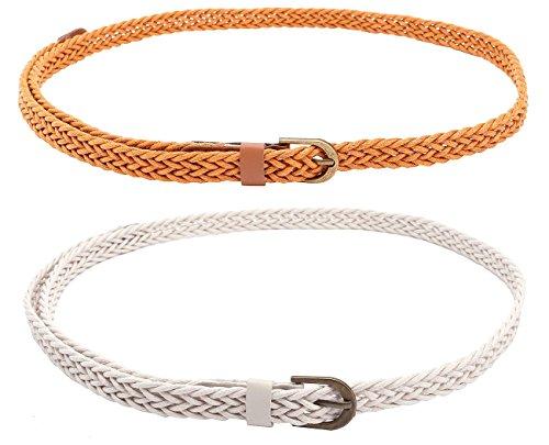 CHIC DIARY Women Braided Waist Belt Skinny Woven Belt for Dress ()