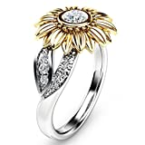 Pocciol Clearance Ring Exquisite Women's Two Tone