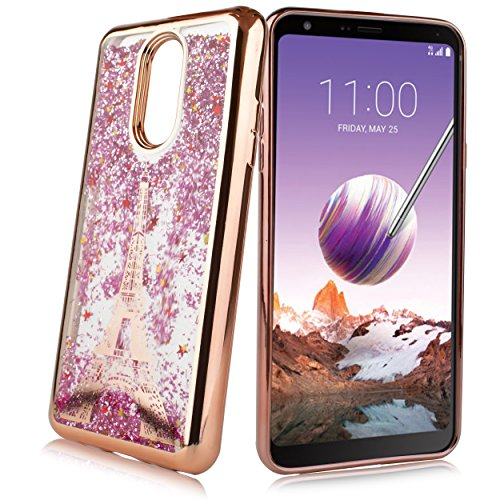 For LG Stylo 4, LG Stylus 4,Q Stylo 4 Q710 2018 (Metro PCS, T-Mobile etc) Cute Liquid Glitter Flowing Sparkle Stars Shockproof Protective Chrome TPU Case [Free Emoji Keychain!] (Rose ()