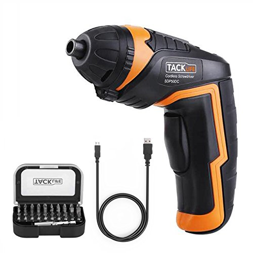 Tacklife SDP50DC Cordless Rechargeable Screwdriver 3.6-Volt 2000mAh Li-ion MAX Torque 4N.m -- LED, 31pcs Driver Bits, USB Charging, USB Charging Cable
