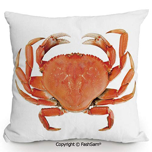 FashSam Home Super Soft Throw Pillow Sea Animals Theme a Cooked Dungeness Crab with National Marks Digital Image for Sofa Couch or Bed(14
