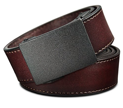 Men's Leather Ratchet Click Belt - Astoria Matte Black Buckle with Brown Rosewood Leather Belt (Trim to Fit: Up to 45'' -