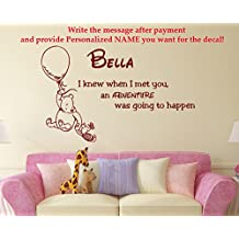 Name Wall Decal Quote Winnie the Pooh Vinyl Sticker Decals Quotes Adventure Quote Personalized Custom Name Nursery Decor Baby Room x144