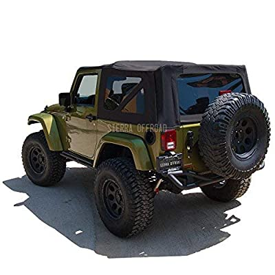Sierra Offroad Factory Style Soft Top Replacement with Tinted Windows, compatible with 2007-2009 Wrangler JK 2 Door, Black Twill: Automotive